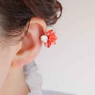 花咲きフリルのイヤーカフ|レッド