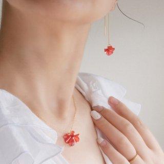 花咲きフリルネックレス|レッド