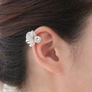 花咲きフリルのイヤーカフ|シルバーグレー