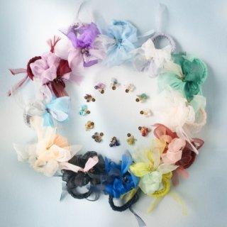 mini|誕生石|咲き編みシュシュ