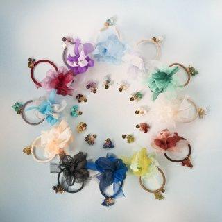誕生石|咲き編みヘアゴム