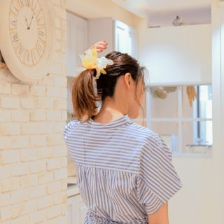 mini|ポピー|咲き編みシュシュ