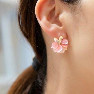サクラ|花咲きフリルのハートピアス/イヤリング(18kgp)