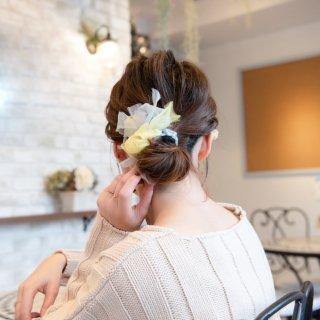 mini|レモンスカッシュ|咲き編みシュシュ