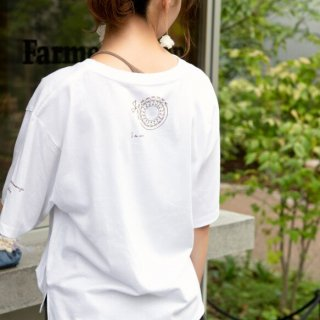 咲き編みの輪オーバーサイズTシャツ|ホワイト×ブロンズ