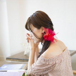 【OUTLET】mini|金魚|咲き編みシュシュ