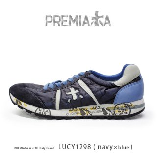 PREMIATA WHITE プレミアータ ホワイト LUCY 1298 メンズ 本革 厚底 大人スニーカー (pre-lucy1298)