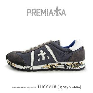 PREMIATA WHITE プレミアータ ホワイト LUCY 618 メンズ 本革 厚底 大人スニーカー (pre-lucy618)