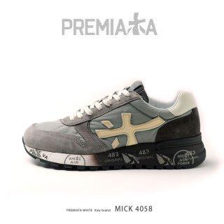 PREMIATA WHITE プレミアータ ホワイト MICK 4058 メンズ 本革 厚底 大人スニーカー (pre-mick4058)