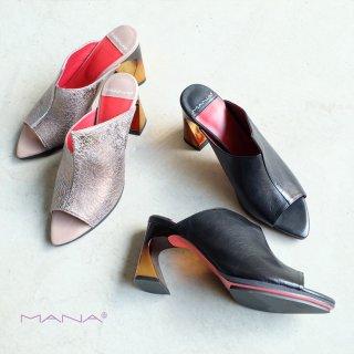 MANA マナ アシンメトリーデザインヒールミュールサンダル(mana512118)