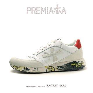 PREMIATA WHITE プレミアータ ホワイト ZACZAC4555 メンズ 本革 厚底 大人スニーカー (pre-zaczac4555)
