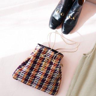 新作 巾着 イタリア製ツイード ネイビー×オレンジ×ボルドー
