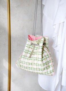 新作 巾着 リントンツイード  ライトグリーン×ピンク
