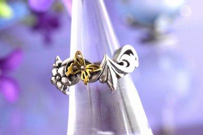【林檎屋】「レリーフリングに蝶と花」シルバーリング(品番230)