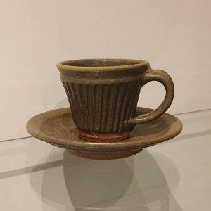 黒釉シノギコーヒーカップ