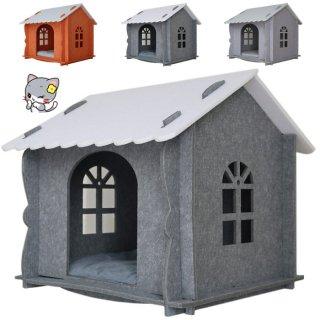 キャットハウス(クッション、カーテン、窓付き) 組み立て式 オンリーキャット