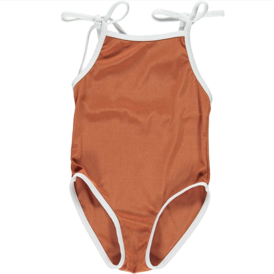 fin & vince ribbed swimsuit / terracotta