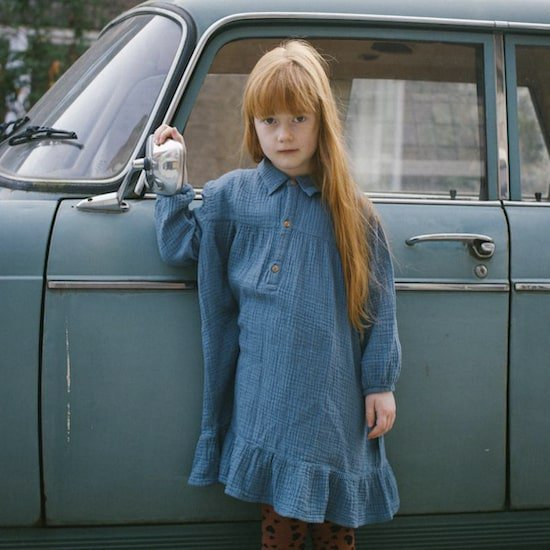 DAILY BRAT Lilyan dress / forest blue (5-6Y only)