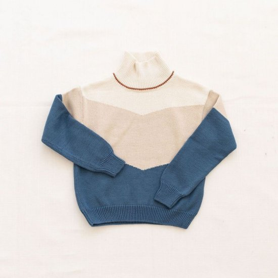 <img class='new_mark_img1' src='https://img.shop-pro.jp/img/new/icons10.gif' style='border:none;display:inline;margin:0px;padding:0px;width:auto;' />fin & vince colorblock mock neck sweater - vintage blueの商品画像