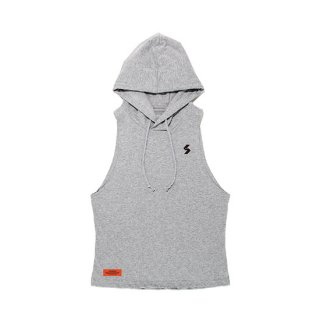 COTTON ONE POINT LOGO WIDE ARMHOLE TANK HOODIE