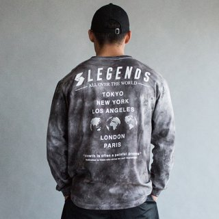 LEGENDS COTTON BIG WORLD PRINT TIE DYE L/S TEE