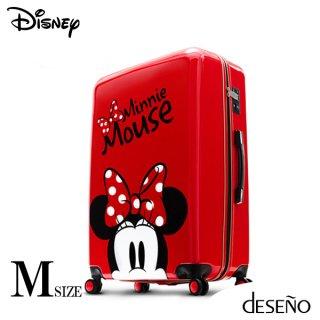 ディズニー【DISNEY】 ミニー【MINNIE】 DESENO  スーツケース ジッパー Mサイズ 赤