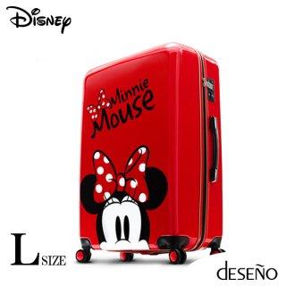 ディズニー【DISNEY】 ミニー【MINNIE】DESENO  スーツケース ジッパー Lサイズ 赤