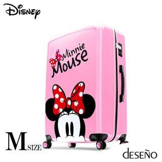ディズニー【DISNEY】 ミニー【MINNIE】DESENO  スーツケース ジッパー Mサイズ ピンク