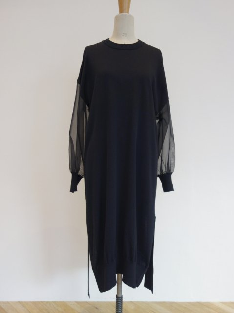 CREW NECK SWEATER SHEER SLEEVE DRESS