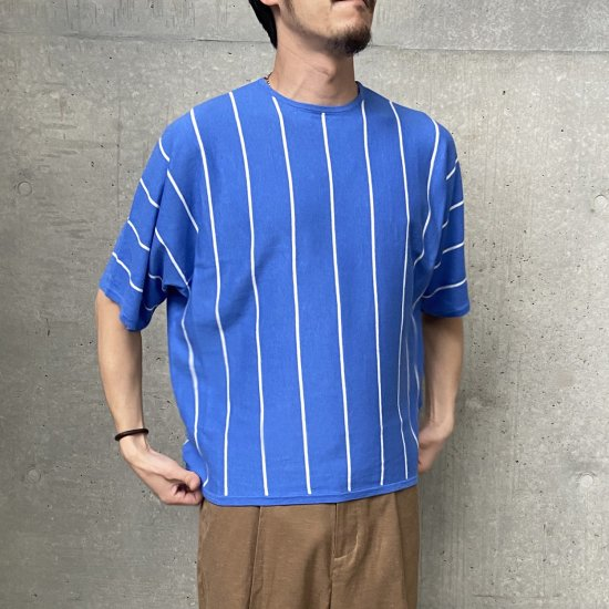 <img class='new_mark_img1' src='https://img.shop-pro.jp/img/new/icons5.gif' style='border:none;display:inline;margin:0px;padding:0px;width:auto;' /><walenode> Cotton linen striped Dolman-sleeve knitwear / ニット