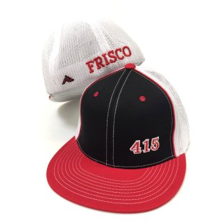 415 Side Stitch Trucker Flat Bill(Black・Red/White)