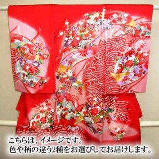 【レンタル】お宮参り 産着 女の子 / 2着をお届け(女児例:赤地・ピンク地を各1枚)