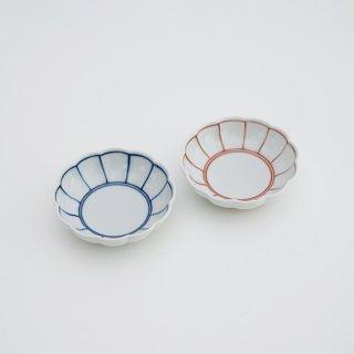 ふちどり 菊割豆皿(青・赤)