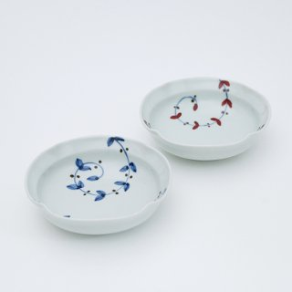 さび唐草リーフ 四方なぶり小鉢(2色)