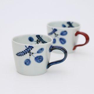 木の葉 カフェマグカップ(青・赤)