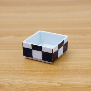 染付市松正角陶箱(身浅+蓋)