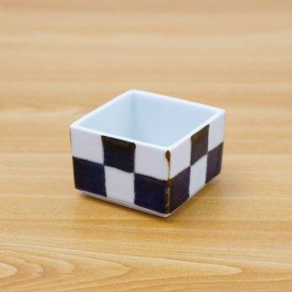 染付市松正角陶箱(身深+蓋)