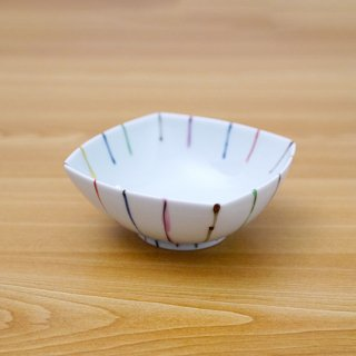 染錦線十草正角浅鉢