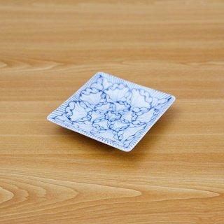 染付花弁紋正角皿(小)