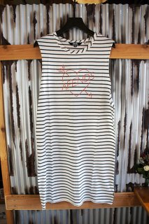 【LADY'S ITEM】 AFENDS Stripe Love Logo Bandcut Dress (Natural)