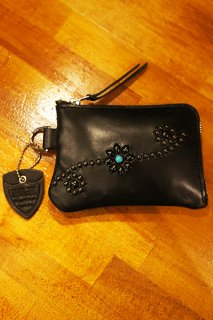 HTC BLACK #25 Turquoise Corner Zipper Purse (BLACK)