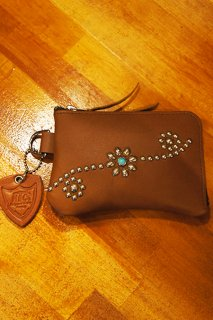 HTC BLACK #25 Turquoise Corner Zipper Purse (LIGHT BROWN)