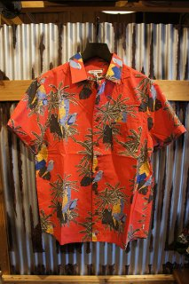 BANKS JOURNAL MACAW S/S WOVEN SHIRT (CORAL RED)
