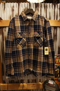BRIXTON × Coors BOWERY COORS L/S FLANNEL (NAVY PLAID)