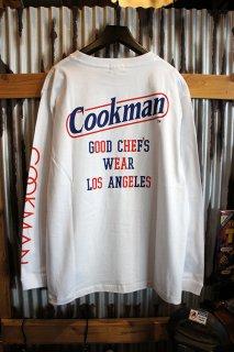 Cookman Long sleeve T-shirts (「Tape logo」) White