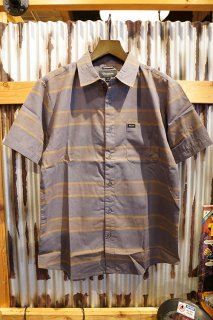 BRIXTON Charter Stripe S/S Woven Shirt (Charcoal/Copper)