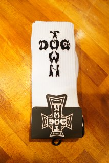 DOGTOWN DT Crew Socks -One Pair- (WHITE)