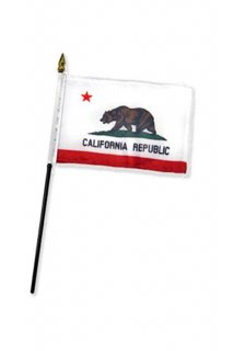 4x6 inch スティックフラッグ CALIFORNIA REPUBLIC FLAG