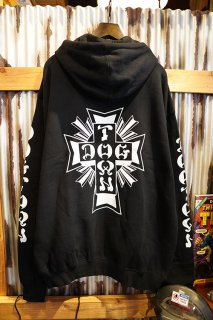 DOGTOWN Cross Logo Zip Hood (Black/White)