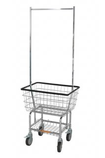 LAUNDRY CART WITH POLE RACK (CHROME)